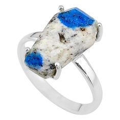 8.38cts coffin natural k2 blue (azurite in quartz) silver ring size 8.5 t17350