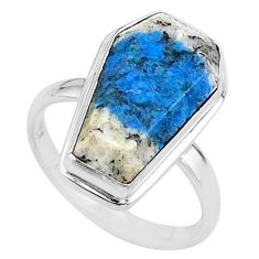 6.62cts coffin natural k2 blue (azurite in quartz) silver ring size 6.5 t17459
