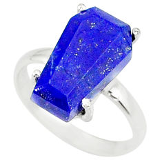 5.15cts coffin natural lapis lazuli 925 silver solitaire ring size 6.5 r81807