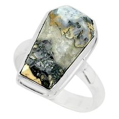 7.33cts coffin natural malinga jasper 925 silver solitaire ring size 7 r96133