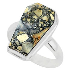 7.94cts coffin natural malinga jasper 925 silver solitaire ring size 8 r96136