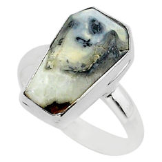 7.63cts coffin natural malinga jasper 925 silver solitaire ring size 9 r96132