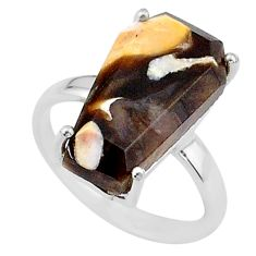 7.13cts coffin natural peanut petrified wood fossil silver ring size 6 t17283