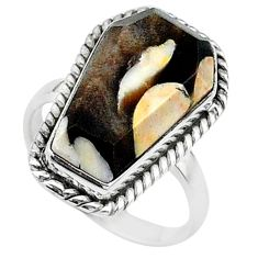 7.67cts coffin natural peanut petrified wood fossil silver ring size 6 t17517