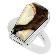 7.63cts coffin natural peanut petrified wood fossil silver ring size 7 r96134