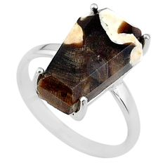 7.17cts coffin natural peanut petrified wood fossil silver ring size 7 t17284