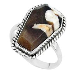 7.67cts coffin natural peanut petrified wood fossil silver ring size 7 t17511