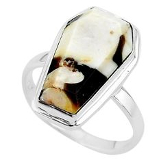 7.67cts coffin natural peanut petrified wood fossil silver ring size 7 t17515