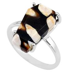 7.17cts coffin natural peanut petrified wood fossil silver ring size 8 t17281