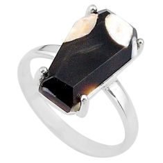 7.17cts coffin natural peanut petrified wood fossil silver ring size 8 t17285