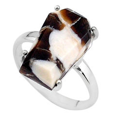 8.56cts coffin natural peanut petrified wood fossil silver ring size 8 t17292