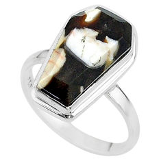 7.39cts coffin natural peanut petrified wood fossil silver ring size 8 t17513