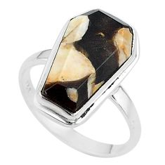 7.65cts coffin natural peanut petrified wood fossil silver ring size 8 t17516