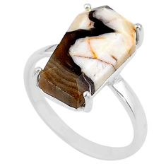 8.01cts coffin natural peanut petrified wood fossil silver ring size 9 t17286