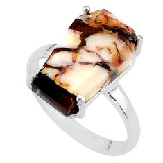 8.07cts coffin natural peanut petrified wood fossil silver ring size 9 t17291