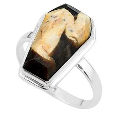 8.05cts coffin natural peanut petrified wood fossil silver ring size 9 t17510