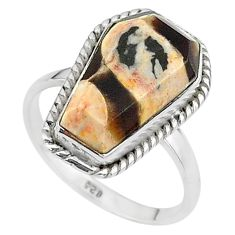 7.61cts coffin natural peanut petrified wood fossil silver ring size 9 t17512