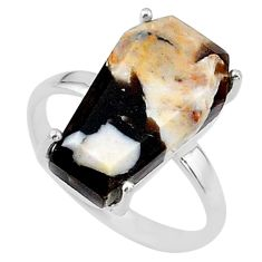 7.63cts coffin natural peanut petrified wood fossil silver ring size 7.5 t17288