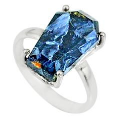 5.54cts coffin natural pietersite (african) silver solitaire ring size 6 r82018