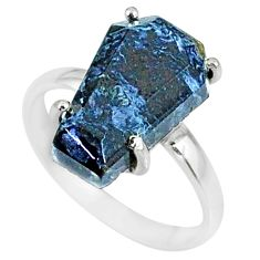 5.46cts coffin natural pietersite (african) silver solitaire ring size 7 r82009