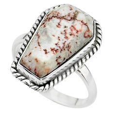 8.06cts coffin natural pink rosetta stone jasper 925 silver ring size 7 t17491
