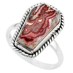 8.03cts coffin natural pink rosetta stone jasper 925 silver ring size 9 t17487
