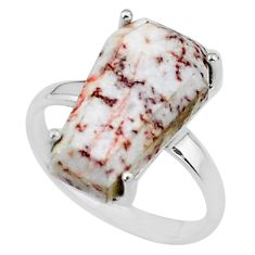 7.66cts coffin natural pink rosetta stone jasper 925 silver ring size 7.5 t17396