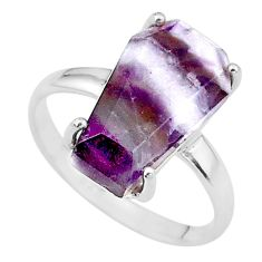 8.03cts coffin natural purple chevron amethyst 925 silver ring size 9 t17428
