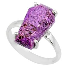 4.56cts coffin natural purpurite stichtite silver solitaire ring size 6 r81819