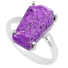 4.54cts coffin natural purpurite stichtite silver solitaire ring size 6 r81820