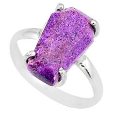 4.57cts coffin natural purpurite stichtite silver solitaire ring size 7 r81784