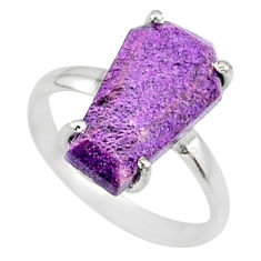 4.86cts coffin natural purpurite stichtite silver solitaire ring size 7 r81785
