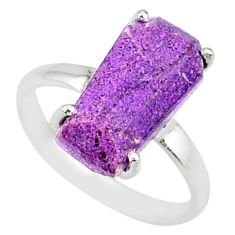 4.47cts coffin natural purpurite stichtite silver solitaire ring size 7 r81786