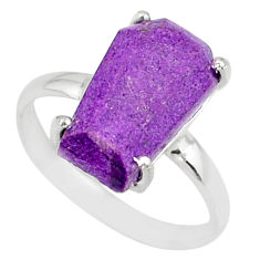 4.91cts coffin natural purpurite stichtite silver solitaire ring size 7 r81787