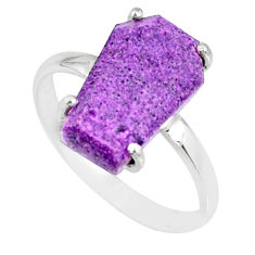4.86cts coffin natural purpurite stichtite silver solitaire ring size 8 r82001