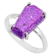 5.20cts coffin natural purpurite stichtite silver solitaire ring size 8 r82003