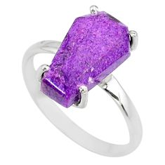4.86cts coffin natural purpurite stichtite silver solitaire ring size 9 r81768