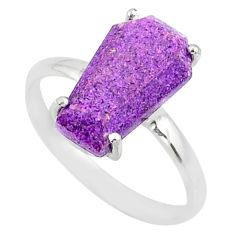4.57cts coffin natural purpurite stichtite silver solitaire ring size 9 r81769