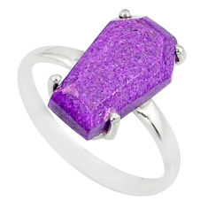 4.91cts coffin natural purpurite stichtite silver solitaire ring size 9 r81770