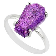 4.86cts coffin natural purpurite stichtite silver solitaire ring size 9 r81772