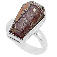 7.81cts coffin natural sonoran dendritic rhyolite 925 silver ring size 7 r96104