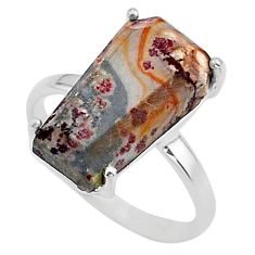 7.63cts coffin natural sonoran dendritic rhyolite 925 silver ring size 8 t17335