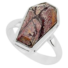 7.83cts coffin natural sonoran dendritic rhyolite 925 silver ring size 9 r96108