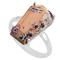8.03cts coffin natural sonoran dendritic rhyolite silver ring size 7.5 t17334