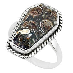 8.06cts coffin natural turritella fossil snail agate silver ring size 7 t17492