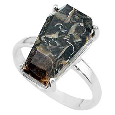 8.12cts coffin natural turritella fossil snail agate silver ring size 8 t17387