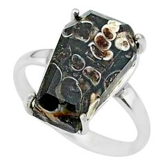 6.73cts coffin natural turritella fossil snail agate silver ring size 7.5 t17392