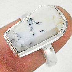 7.50cts coffin natural white dendrite opal silver solitaire ring size 7 r96114