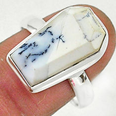 7.95cts coffin natural white dendrite opal silver solitaire ring size 9 r96118