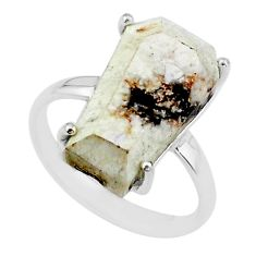 8.12cts coffin natural white wild horse magnesite silver ring size 7.5 t17378